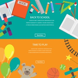 time to play toys and back to school. infographics element and banner background. kid and children concept. Can be used for one web page design, brochure template,  Vector illustration