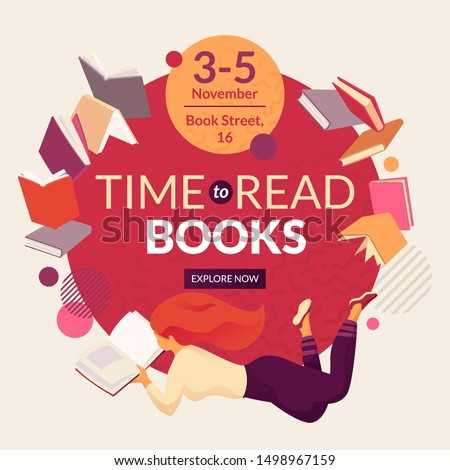Time to read books vector template with faceless smiling person reading book, place for text and event date. Book fair, reading club, world book day concept
