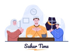 Time to Sahur or suhoor and iftar party with Family and together pray before break fasting. Muslim people activity during Ramadan Month. Fasting routine activity. Ramadan Cartoon illustration.