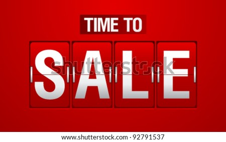 Time to Sale analog flip clock. - stock vector