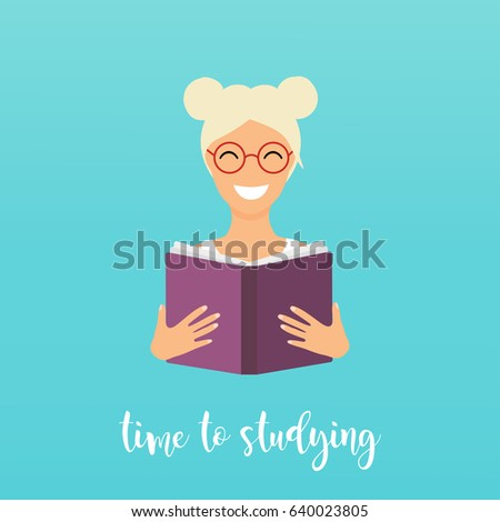 Time to studying. Girl reading a book. Flat design vector illustration.