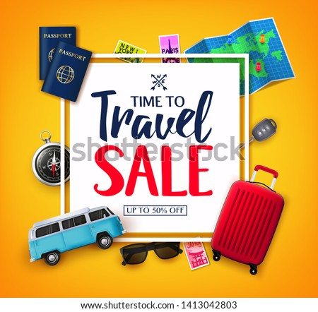 Time To Travel Ads Banner Up To 50% Off  in White Space for Text with Vector 3D Realistic Traveling Item Elements in Yellow Background. For Promotional Purposes