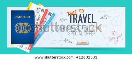 Time to travel banner with passport and tickets, Business air trip from discount 50% off.