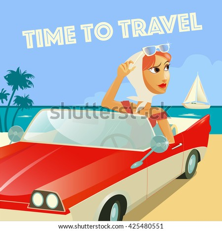 time to travel banner woman in