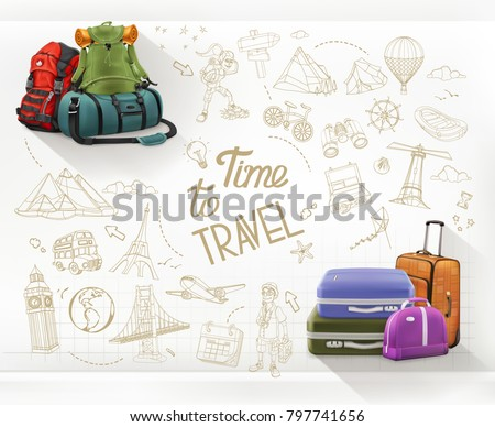 Time to Travel. Journey and hiking infographics vector