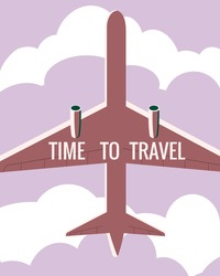 Time to Travel Plane in the sky. Vintage Summer Holiday poster, banner. Vector illustration flat style retro