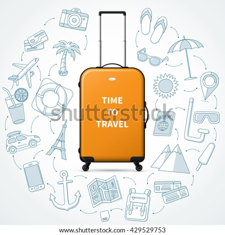 Time to travel. Planning of vacation. Vector concept illustration with realistic hand luggage suitcase and the set of journey, trip, tour doodle icons and elements.