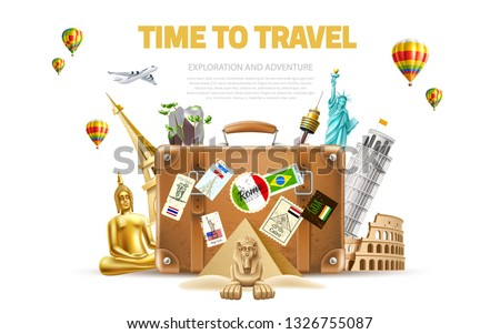 Time to travel poster. Vector best tours promotion, travelling and tourism banner with famous landmarks near vintage travel bag on background with air balloons. Pyramids, sphinx, eiffel tower