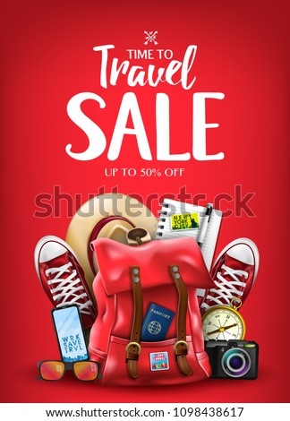 Time To Travel Sale Poster for Advertisement with Travelling 3D Realistic  Items Such as Hat, Camera, Sunglasses, Passport, Compass, Notepad, Pen, Mobile Phone and Pair of Sneakers in Red Background.