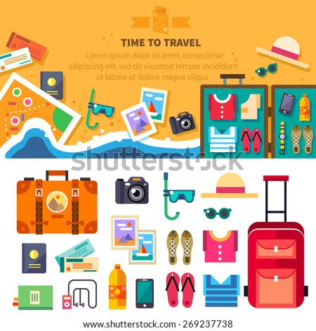 Time to travel, summer vacation, beach rest: sun, sea, waves, mask, hat, open suitcase, clothes, shoes, passport, tickets, map. Vector flat background and objects illustrations