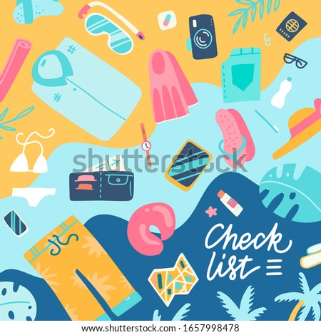 Time to travel, vacation, journey. Travel planning, preparing, packing check list. Camera,norkeling mask, ticket, passport, baggage, wallet swimsuit shoes shirt Top view Vector flat illustration Stok fotoğraf ©