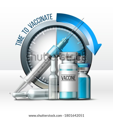 Time to vaccinate concept. Syringe, bottles of vaccine and Timer clock. Coronavirus vaccination and immunization concept. Fight pandemic. Realistic vector illustration isolated on white