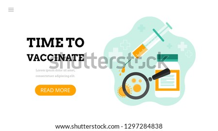 Time to vaccinate. Landing page template. Modern flat concept for web design. Vector illustration with syringe with vaccine, bottle and virus.