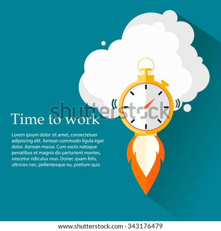 Time to work. Time is running out.Clock,Stopwatch soaring up. Vector Design