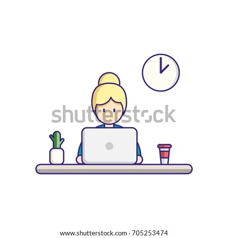 Time to work, work on laptop, workplace. Vector flat illustration.