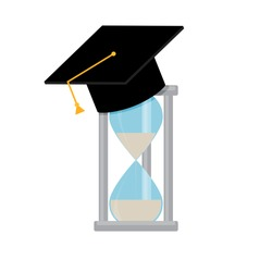 Time training knowledge. Education study in university, college, development and learning, teaching lesson. Vector illustration