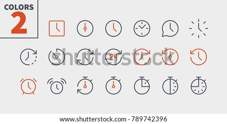 Time UI Pixel Perfect Well-crafted Vector Thin Line Icons 48x48 Ready for 24x24 Grid for Web Graphics and Apps with Editable Stroke. Simple Minimal Pictogram Part 1-2