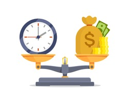 Time vs money on scales icon balance isolated vector on white background. Time is money on measure scale. Weights with clock and money golden coin. Concept of business success