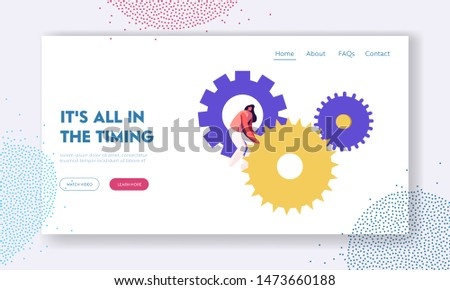 Time Website Landing Page. Tiny Woman Character Turning Huge Gears and Cogwheels Mechanism of Clocks or Watch. Generating Ideas, Working Process Web Page. Cartoon Flat Vector Illustration, Banner