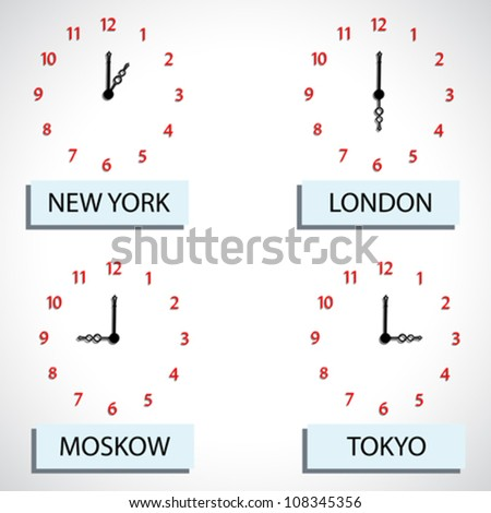 time zone hours, abstract vector art illustration