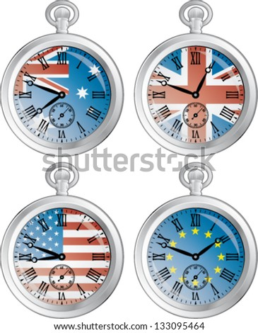 Time zone vector clocks showing different time