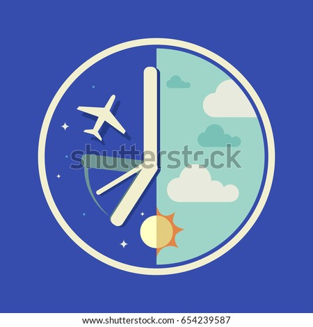 Time zones crossing - jet lag infographic vector arts