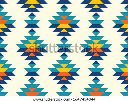 Timeless bohemian aztec diamonds in southwestern style pattern in blue,teal,yellow,orange. Stockfoto ©