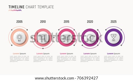 Timeline chart infographic design for data visualization. 5 steps. Vector illustration.