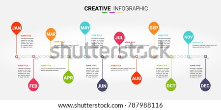 Timeline for 12 months, 1 year, Timeline infographics design vector and Presentation business can be used for Business concept.