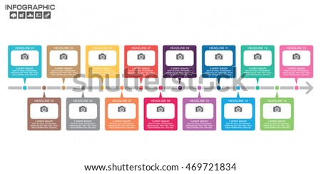 Timeline Infographic chart with many color on light background. Vector design template. 15 options.