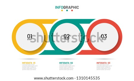 Timeline infographic design template. Business concept with 3 options, steps, circles. Can be used for workflow layout, diagram, annual report, poster. ストックフォト ©