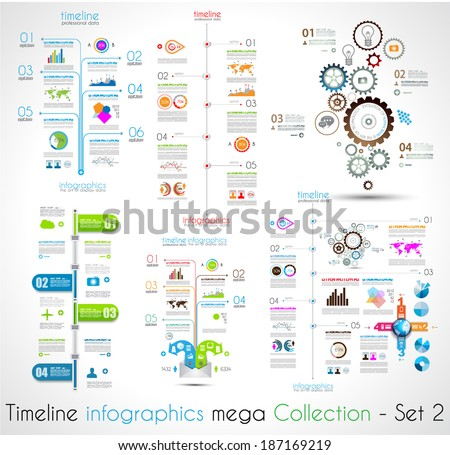 Timeline Infographic design templates Set 2 With paper tags Idea to display information ranking and statistics with orginal and modern style
