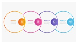 Timeline infographic design thin line circle elements and number options. Business concept with 4 steps. Can be used for workflow layout, diagram, annual report, info chart, graph, web design.
