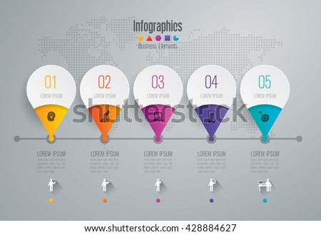 Timeline infographic design vector and marketing icons can be used for workflow, diagram, annual report, web design. Business concept with 5 options, steps or processes.