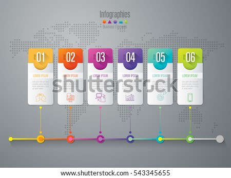 Timeline infographic design vector and marketing icons can be used for workflow layout, diagram, annual report, web design. Business concept with 6 options, steps or processes.