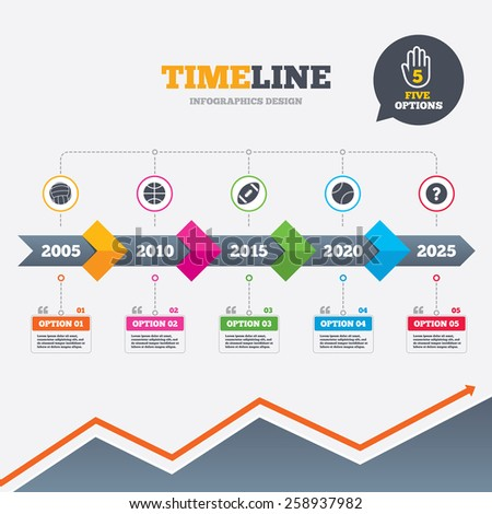 Timeline infographic with arrows. Sport balls icons. Volleyball, Basketball, Baseball and American football signs. Team sport games. Five options with hand. Growth chart. Vector