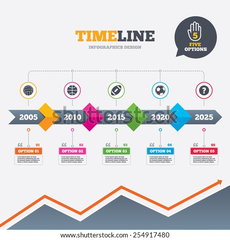 Timeline infographic with arrows. Sport balls icons. Volleyball, Basketball, Soccer and American football signs. Team sport games. Five options with hand. Growth chart. Vector