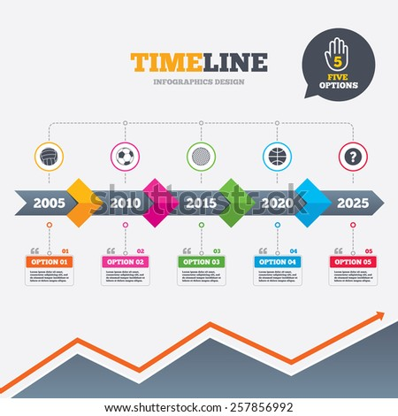 Timeline infographic with arrows. Sport balls icons. Volleyball, Basketball, Soccer and Golf signs. Team sport games. Five options with hand. Growth chart. Vector