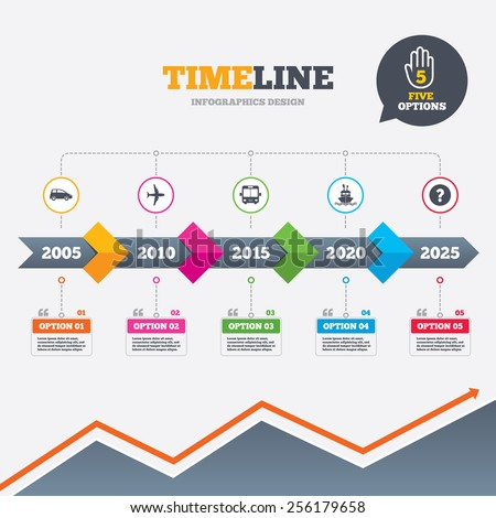 Timeline infographic with arrows. Transport icons. Car, Airplane, Public bus and Ship signs. Shipping delivery symbol. Air mail delivery sign. Five options with hand. Growth chart. Vector