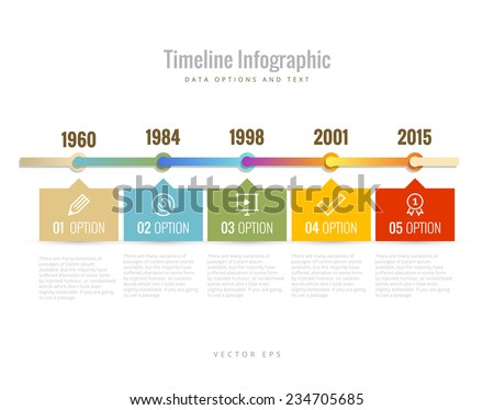 Timeline Infographic with diagrams data options and text
