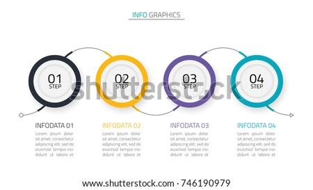 Timeline infographics design template.Business concept with 4 steps,options,arrow.Vector illustration