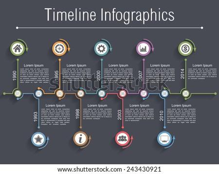 Timeline infographics design template with nine elements, vector eps10 illustration