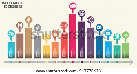 Timeline infographics design template with 14 options, process diagram, vector eps10 illustration Stock photo ©