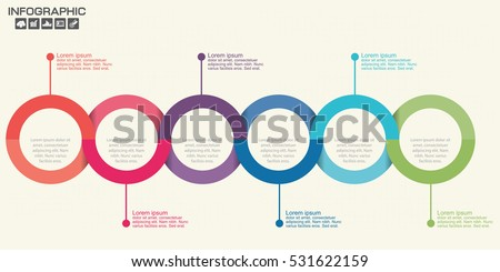 Timeline infographics design template with 6 options, process diagram, vector eps illustration.