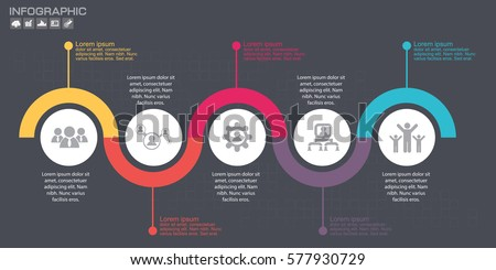 Timeline infographics design template with 5options, process diagram, vector eps10 illustration