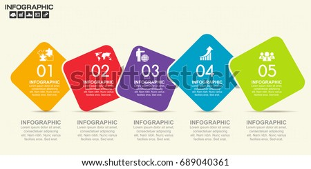 Timeline infographics design template with 5 options, process diagram, vector eps10 illustration