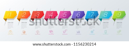 Timeline infographics design vector and marketing icons can be used for workflow layout, diagram, annual report, web design. Business concept with 9 options, steps or processes.
