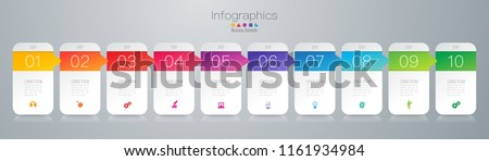 Timeline infographics design vector and marketing icons can be used for workflow layout, diagram, annual report, web design. Business concept with 10 options, steps or processes.