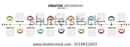 Timeline Infographics Template, Vector infographics timeline design template with 12 label, 12 months 1 year, Vector can be used for workflow layout, diagram, number step up options.