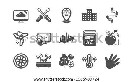 Timeline path, Fan engine and Profits chart icons. Jet turbine, Wind energy and Cloud services. Classic icon set. Quality set. Vector